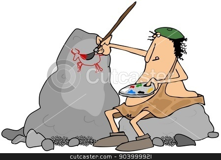 Caveman artist stock photo, This illustration depicts a caveman wearing a beret sitting on a boulder and painting pictures on another rock. by Dennis Cox