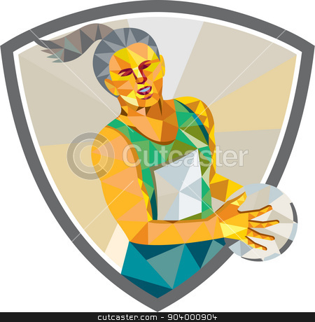 Netball Player Holding Ball Low Polygon stock vector clipart, Low polygon style illustration of a netball player holding ball viewed from front set inside shield crest on isolated white background. by patrimonio