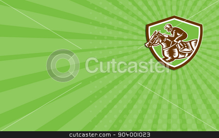 Business card Jockey Horse Racing Shield Retro Woodcut stock photo, Business card showing illustration of horse and jockey racing viewed from the side set inside shield crest on isolated background done in retro woodcut style. by patrimonio