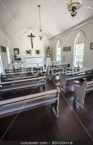 St. Joseph's Church on Molokai stock photo, Interior of Saint Joseph's church in Molokai by Scott Griessel