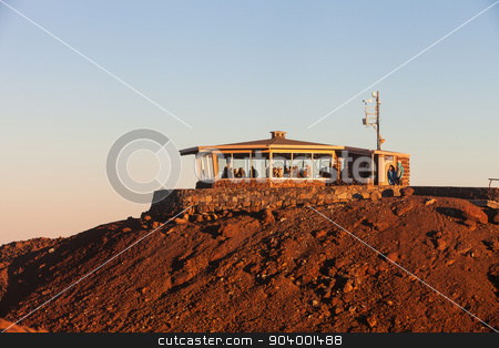 Observation Building on Haleakala stock photo, Tourists in observation building at Haleakala on Maui by Scott Griessel