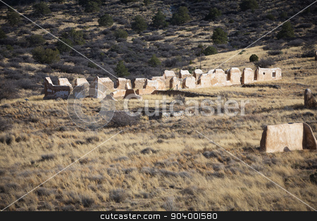 Old Ruins in Arizona stock photo, View American civil war ruins in Arizona in desert by Scott Griessel