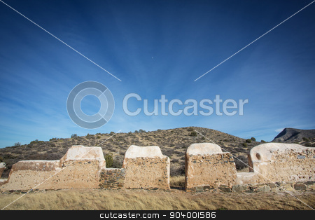 Stone American Civil War Fort stock photo, Historic American Civil War stone building in desert by Scott Griessel