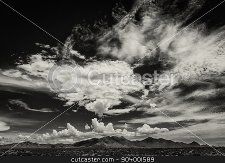 Monsoon Clouds in Arizona, USA stock photo, Scary cloud buildup in sky during monsoon season in Arizona by Scott Griessel