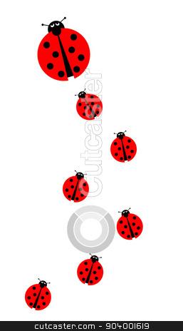 Many Ladybugs stock photo, Background image with many different sized ladybugs on white background. by Henrik Lehnerer
