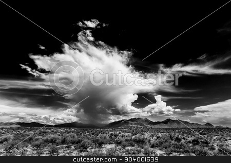 Dark Sky and Desert Mountains stock photo, Dark sky and dramatic clouds in Arizona desert by Scott Griessel