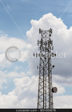 Telecommunications Tower stock photo, Single tall telecommunications tower with clouds in background by Scott Griessel