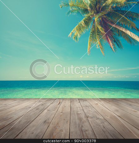 Summer sea view stock photo, Retro vintage style summer sea view with coconut tree with wooden floor. by szefei