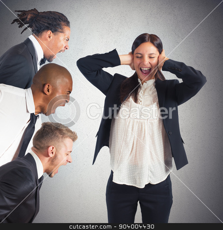 Tired of leaders screams stock photo, Businesswoman tired of hearing the leaders screams by Federico Caputo