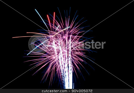 Purple and white fireworks stock photo, Purple and white fireworks exploding in the night sky. by Joe Tabb