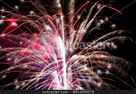 exploding fireworks stock photo, Fireworks explode in the night. by Joe Tabb