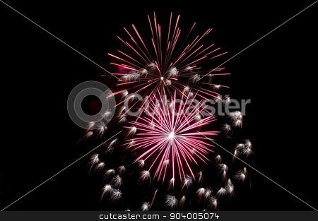fireworks explosion stock photo, Fireworks explode in the night. by Joe Tabb