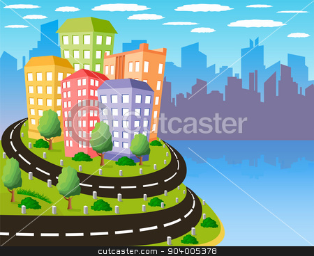 Colorful city stock vector clipart, Cartoon illustration of a road to a city by Volina