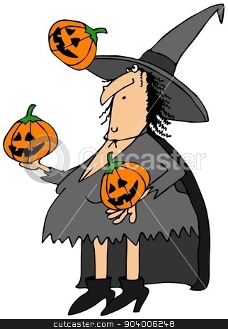 Witch juggling pumpkins stock photo, This illustration depicts a Halloween witch juggling three carved pumpkins. by Dennis Cox