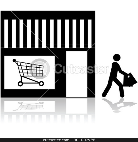 Store icon stock vector clipart, Icon showing a person walking out of a store carrying bags by Bruno Marsiaj