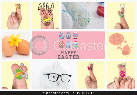 Composite image of fingers as easter bunny stock photo, Fingers as easter bunny against two eggs and a yellow daffodil by Wavebreak Media