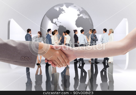 Composite image of handshake between two women stock photo, Handshake between two women against planet on grey abstract background by Wavebreak Media
