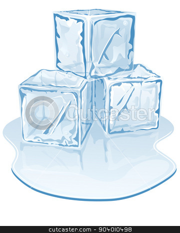 ice cube pile stock vector clipart, Vector illustration of blue half-melted ice cube pile by zybr78