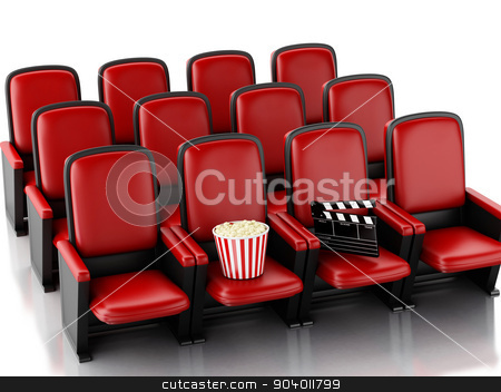 3d Cinema clapper board and popcorn on theater seat. stock photo, 3d illustration. Cinema clapper board and popcorn on theater seat. cinematography concept. by nicolas menijes