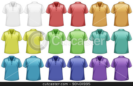 Shirts stock vector clipart, Different colors shirts with front and back view by Matthew Cole