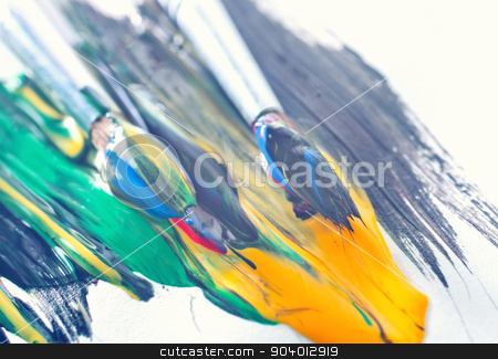 color paint stock photo, color paint and brushes on the white paper by tycoon