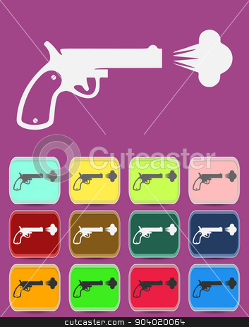 Shot from a revolver icon. Vector illustration stock vector clipart, Shot from a revolver icon. Vector illustration. by Liudmila Marykon