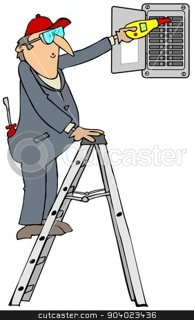 Electrician checking breakers stock photo, This illustration depicts an electrician on a ladder checking a breaker box for power. by Dennis Cox