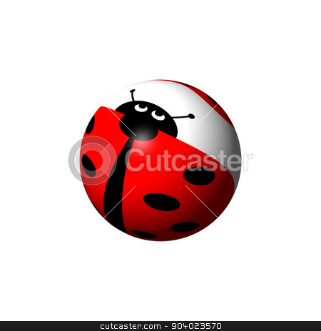 Ladybug Globe stock photo, A ladybug globe looking up on white background. by Henrik Lehnerer