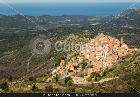 Village of Spelonato in Balagne region of Corsica stock photo, The mountain village of Speloncato in the Balagne region of north Corsica with maquis and the Mediterranean in the background by Jon Ingall