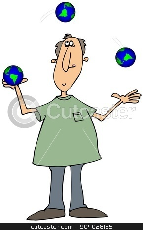 Man juggling globes stock photo, This illustration depicts a man juggling three small world globes. by Dennis Cox