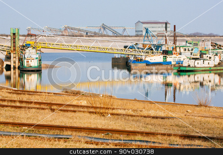 Ships moored at a shipyard stock photo, Coseup of ships moored at a shipyard by Dariusz Miszkiel