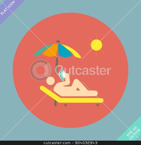 relax under an umbrella on a lounger - vector stock vector clipart, relax under an umbrella on a lounger - vector illustration. Flat design element by Liudmila Marykon