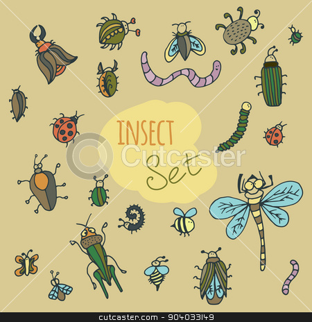 Set of cute cartoon insect stock vector clipart, Set of cute cartoon insect. Colorful vector doodle beetles by LittleCuckoo