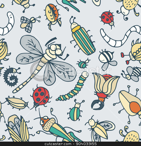 Cute cartoon insect pattern. Summer concept texture.  stock vector clipart, Cute cartoon insect pattern. Summer concept texture. Colorful vector background with doodle beetles by LittleCuckoo