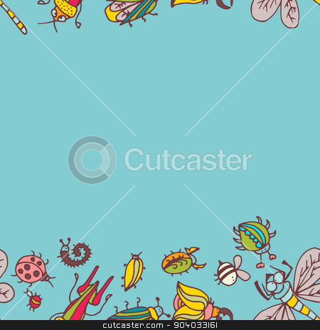 Cute cartoon insect border pattern. Summer concept background.  stock vector clipart, Cute cartoon insect border pattern. Summer concept background. Colorful vector background with doodle beetles by LittleCuckoo