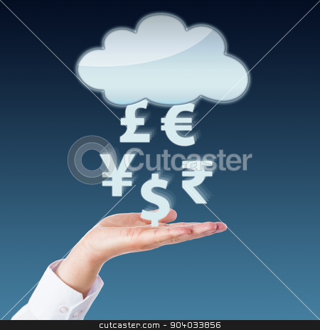 Currency Transfer Between Void Cloud And Open Hand stock photo, Currency symbols transferring between an open hand and a blank cloud computing icon. Yen, Pound, Euro, Rupee and Dollar signs floating in mid-air above the left palm of a business person. Close up. by Leo Wolfert