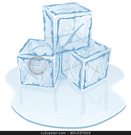 ice cube pile stock vector clipart, Blue half-melted ice cube pile. Vector illustration  by zybr78