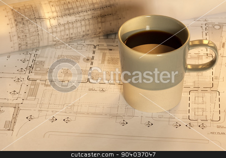 Architectural work and coffee stock photo, Architectural work and coffee with coffee cup by phasinphoto