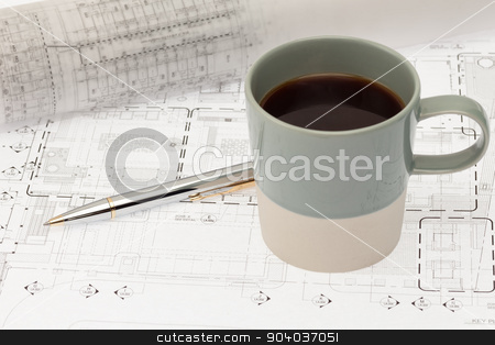 Design plan with coffee stock photo, Architectural design plan with coffee cup by phasinphoto