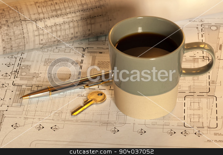 Coffee cup on working table stock photo, Coffee cup on architectural working table by phasinphoto