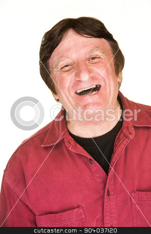 Laughing Caucasian Man stock photo, Laughing mature man over isolated white background by Scott Griessel