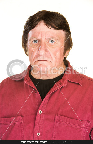 Suspicious Man stock photo, Suspicious middle aged male over white background by Scott Griessel