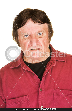 Sneering Man in Red stock photo, Single sneering Caucasian man over white background by Scott Griessel