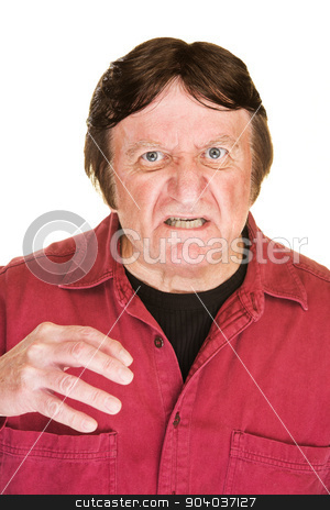 Aggressive Single Male stock photo, Aggressive middle aged man over white background by Scott Griessel