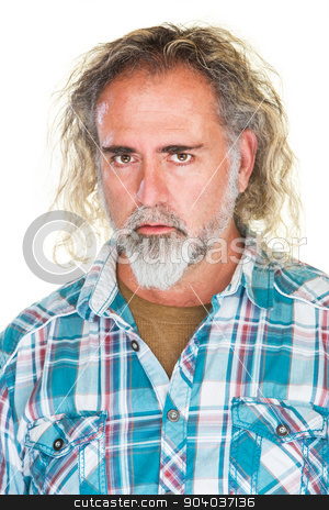 Man with Blank Stare stock photo, Handsome mature man with beard and blank stare by Scott Griessel
