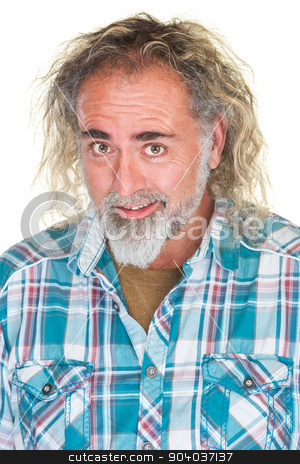 Happy Guy with Beard stock photo, Happy Caucasian man with beard and long hair by Scott Griessel