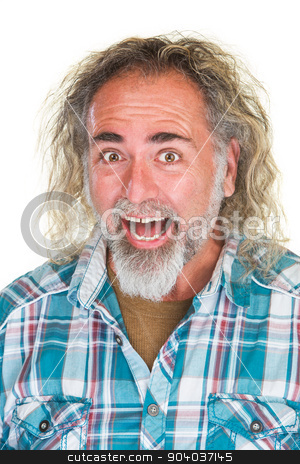Laughing Man with Long Hair stock photo, Laughing adult male with long and beard by Scott Griessel