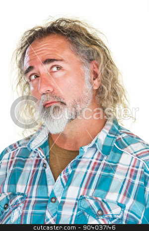 Thinking Man Looking Over stock photo, Man in flannel shirt looking over with curious expression by Scott Griessel