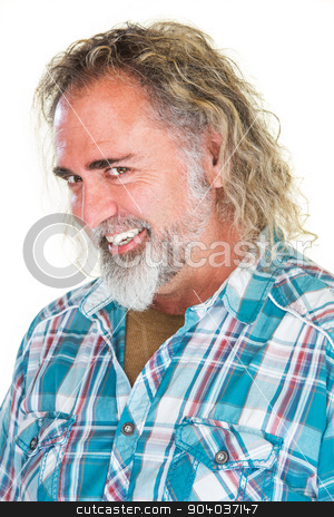 Flirtacious Bearded Man stock photo, Flirtacious man with big smile and long hair by Scott Griessel