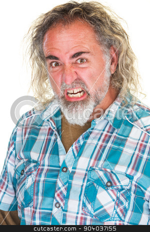 Furious Man stock photo, Single male adult with beard and furious expression by Scott Griessel